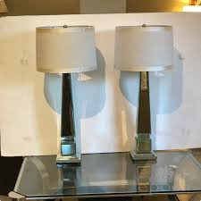 Beveled Mirror Epoca Pair Of Beveled Mirror Obelisk Form Lamps