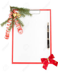 clipboard with blank paper for messages pen and christmas