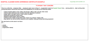 Certification Letter Sle Employment Hospital Cleaner Work Experience Certificate
