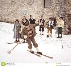 old style skiing performance in slovenia editorial photo image