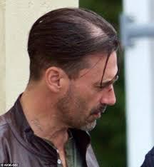 bald spor hair styles jon hamm swaps dapper don draper hair for new do on set of crime