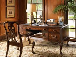 gray stained pine wood office table combined with dark tone oak