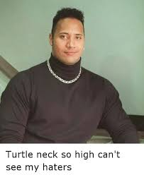 Turtleneck Meme - turtle neck so high can t see my haters funny meme on me me