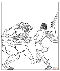 theseus slaying the minotaur coloring page free printable