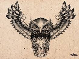 owl with skull tattoo on chest real photo pictures images and