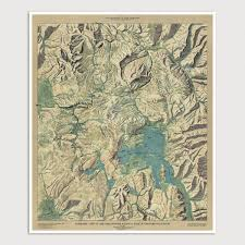 Map Of Yellowstone National Park Yellowstone National Park Antique Map Art Print 1915 U2013 Blue Monocle