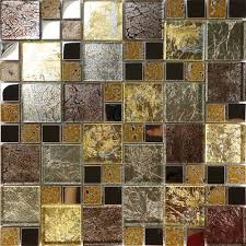 sample golden brown metallic foil metal glass mosaic tile kitchen
