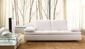 White Sofa Bed Fascinating White Bed Leather Upholstery Padded Arm Chrome