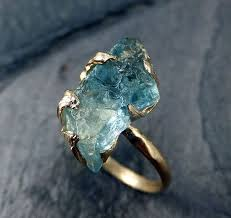 gem gold rings images Raw uncut aquamarine ring solid 14k gold ring wedding engagement jpg