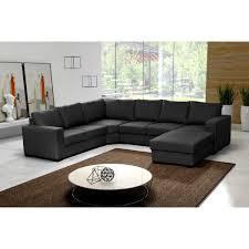 canapé angle noir grand canapé d angle 6 places oara avec méridienne tissu noir
