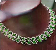 diamond emerald necklace images Lovely 16 inches emerald necklace made with sterling silver gleam jpg