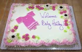 baby shower sheet cake with onesie u2014 trefzger u0027s bakery