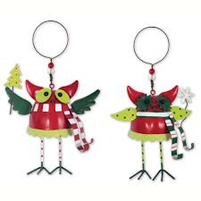 colorful metal owl ornaments happy holidayware