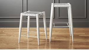 White Leather Bar Stool Nahla White Leather Bar Stools Cb2