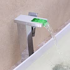 Led Bathroom Faucet Moderne Led Waterfall Vessel Sink Bathroom Faucet
