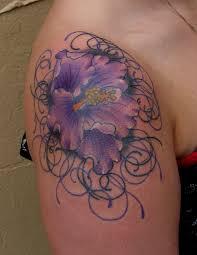 unique flower on shoulder for