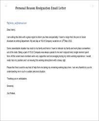 email resignation letter resignation sample email letter of
