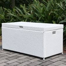 white wicker patio storage deck box jeco