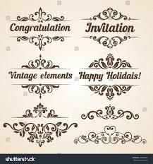 set vintage ornaments floral elements invitation stock vector