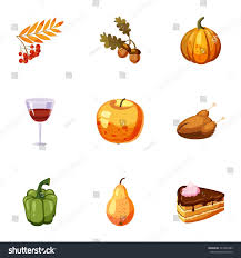thanksgiving day icons set illustration stock vector