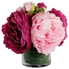 home decor artificial silk flower with vase peony arrangement