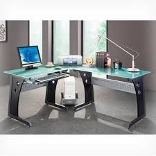 Stylish Computer Desks with Graphite L Shaped Computer Desk With Frosted Glass Surfaces And