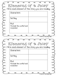 graphic organizer for elements of a story teaching freebies