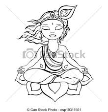 clip art vector hindu god krishna vector hand drawn