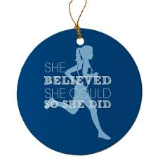 running porcelain ornament she believed she could so she did blue