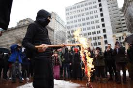 Flag Burning Protest Protesters Burn American Flags In Pioneer Courthouse Square As