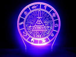 Neon Desk Lamp Gravity Falls Bill Cipher Wheel Secrets Map Led Night Light Desk
