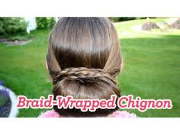 chiffon hairstyle braid wrapped chignon updos cute girls hairstyles youtube