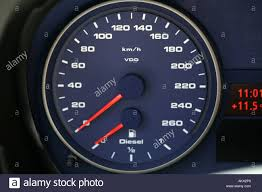 bmw speedometer speedometer and diesel indication in a bmw alpina d3 stock photo