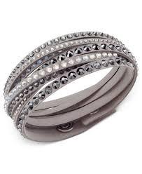 swarovski crystal leather bracelet images Swarovski slake deluxe crystal stud wrap bracelet jewelry tif