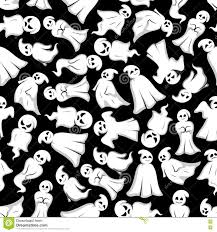 black and white halloween background halloween background with cartoon ghosts stock vector image