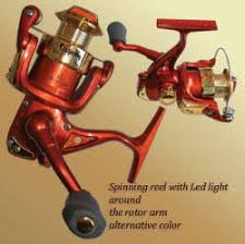 spinning reel with led light around the hub light up reel led