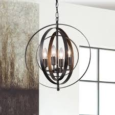 Black Iron Chandeliers Carbon Loft Bidwell Antique Black Iron 4 Light Orb Chandelier