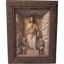 jesus sacred heart shadowbox framed statue home altar from