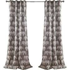 Curtain Pair Gray Elephant Parade Room Darkening 84 Inch Curtain Panel Pair