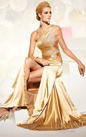 glamour gold color evening dress stylish design with whole crystal