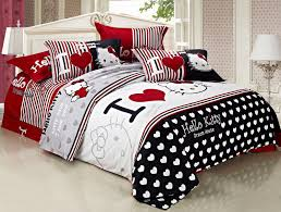 Red And White Comforter Sets Free Shipping 100 Pure Cotton Red Black White Bedding Set Twin