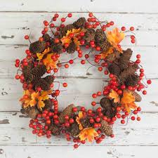 pinecone wreath fall berry and pinecone wreath 18 inch