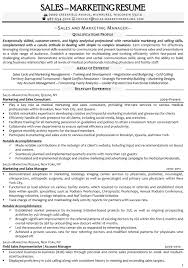 Sample Resumes For Sales Executives Sample Resume For Marketing And Sales Manager
