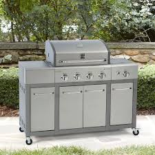 Backyard Grill 3 Burner Gas Grill by Kenmore 4 Burner Stainless Steel Lid Gas Grill With Storage Shop