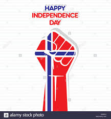 Flag Of Norway Flag Of Norway In Hand Happy Independence Day Design Vector