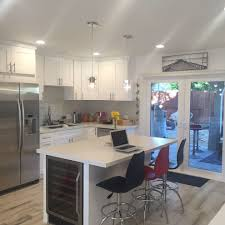 los angeles kitchen with built in bench seat white countertop