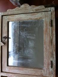vintage wood bathroom medicine cabinet glass mirror with towel bar