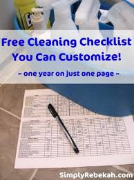 Commercial Kitchen Cleaning Checklist by Free Cleaning Checklist You Can Customize 1 Year On 1 Page