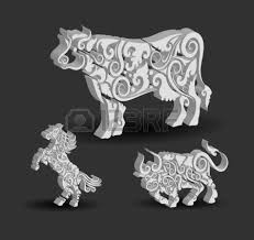 animal engraving ornaments 3d cow and bull royalty free