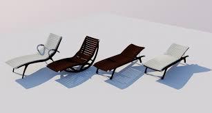 4 wooden deckchairs 3d model cgtrader